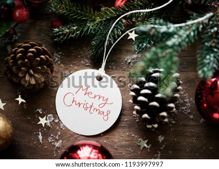 Merry Christmas tag in Christmas background #1193997997