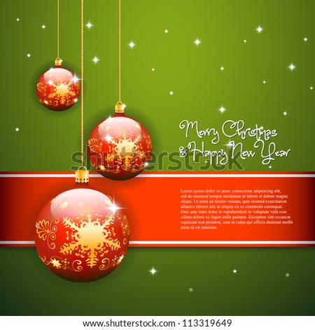 Merry christmas template background with stripe and three red balls