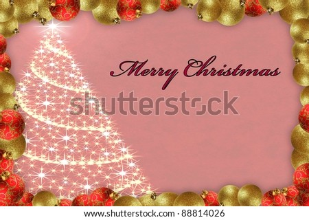 Merry christmas text with a christmas tree texture and bauble framing