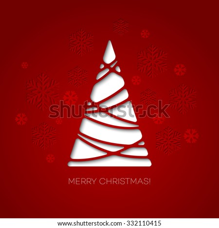 Merry Christmas tree greeting card. Paper design.