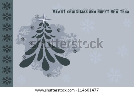 Merry Christmas - vintage christmas tree - stock photo