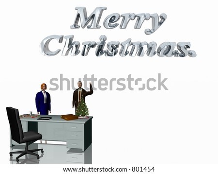 Merry Christmas wish from the office. Desk with collection christmas cookies,  glass milk , laptop, briefcase and christmas tree. 3D render illustration. Copy space provided. Man and woman wishing.
