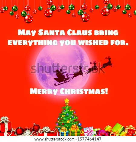 Merry Christmas wishes and happy new year message, abstract background with inspirational texts and blank space for writing your own text, graphic illustration and design wallpaper