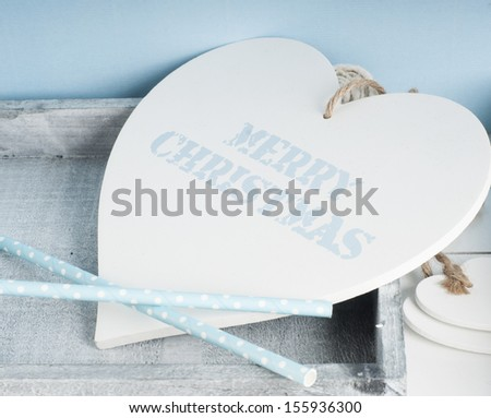 Merry Christmas wooden heart in baby blue