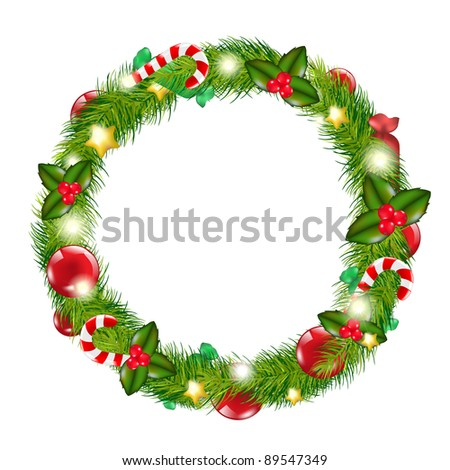 Merry Christmas Wreath, Isolated On White Background