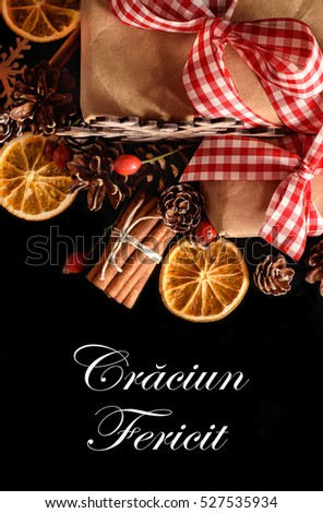 Merry Christmas write in Romanian language , Craciun fericit  Imagine de stoc ©