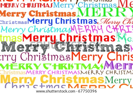 merry christmas written in different colors  and different types