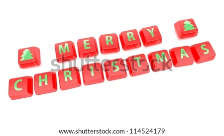 MERRY CHRISTMAS written in green on red computer keys. 3d illustration. Isolated background.