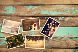 Merry christmas (xmas) photo album remembrance and nostalgia on old wood table. paper photo of instant camera - vintage and retro style