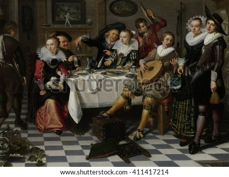 Merry Company, by Isack Elyas, 1629, Dutch painting, oil on panel. Interior with partying, drinking and music making company around a set table allude to the Five Senses. The woman with the lapdog re