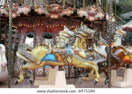 merry-go-round horse - stock photo