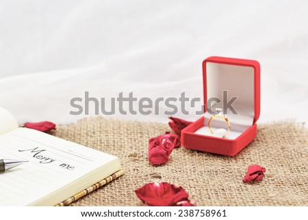 Merry Me  write on the Booklet and Diamond Ring. Vintage Style