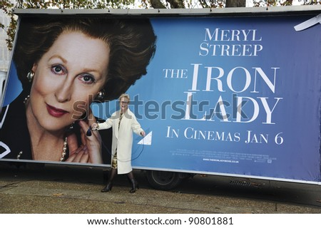"""Meryl Streep unveils the poster for her new Margaret Thatcher film """"The Iron Lady"""" in Westminster, London. 14/11/2011 Picture by: Steve Vas / Featureflash"""