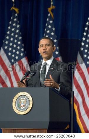 MESA, AZ - FEBRUARY 18: President Barack Obama speaks about the home mortgage crisis at Dobson High School on  February 18, 2009 in Mesa, AZ. - stock photo