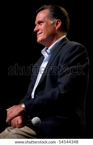 MESA, AZ - JUNE 4: Former Massachusetts Governor Mitt Romney appears at a town hall meeting on June 4, 2010 in Mesa, Arizona.