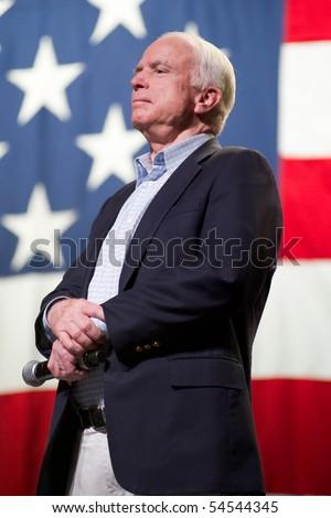 MESA, AZ - JUNE 4: Senator John McCain (R - AZ) appears at a town hall meeting on June 4, 2010 in Mesa, Arizona.