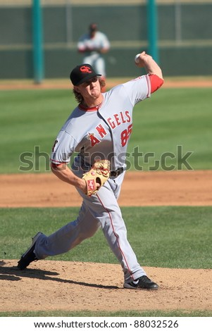 MESA, AZ - OCTOBER 26: Andrew Taylor, a Los Angeles Angels prospect, pitches for the Scottsdale Scorpions in the Arizona Fall League Oct. 26, 2011 at HoHoKam Stadium, Mesa, AZ. Taylor allowed one run.