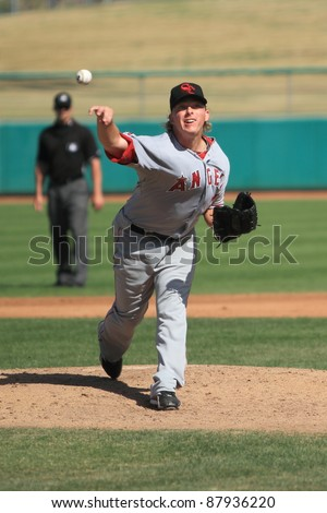 MESA, AZ - OCTOBER 26: Chris Scholl, a Los Angeles Angels prospect, delivers a pitch for the Scottsdale Scorpions in the Arizona Fall League on Oct. 26, 2011 at HoHoKam Stadium, Mesa, AZ.