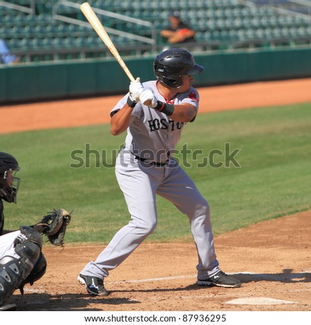 MESA, AZ - OCTOBER 26: Ryan Dent, a Boston Red Sox prospect, bats for the Scottsdale Scorpions in the Arizona Fall League Oct. 26, 2011 at HoHoKam Stadium, Mesa AZ. Dent doubled twice and walked.