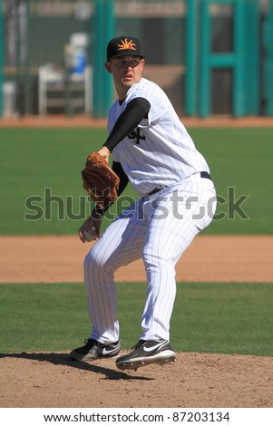 MESA, AZ - OCTOBER 17: Terry Doyle, a Chicago White Sox prospect, pitches in the Arizona Fall League Oct. 17, 2011 at HoHoKam Stadium. Doyle, previously at Double-A Birmingham, allowed just one hit.
