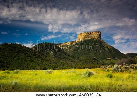 Mesa Verde National Park in Colorado beams in the summer sunlight Stock photo ©