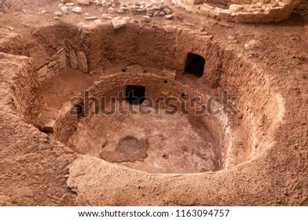 Mesa Verde National Park Pueblo kiva pit house, A.D. 700-950