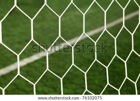 mesh football goal on the field