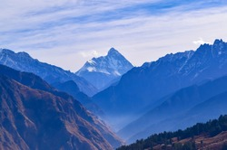 Mesmerizing view at Auli hill station from Kuari pass hiking trail in Uttrakhand,India.
