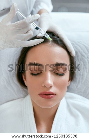 Mesotherapy For Hair Growth. Woman Receiving Injection In Head #1250135398