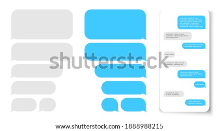 Message bubbles. Text balloon on phone dispaly. design template for messenger chat Foto stock ©