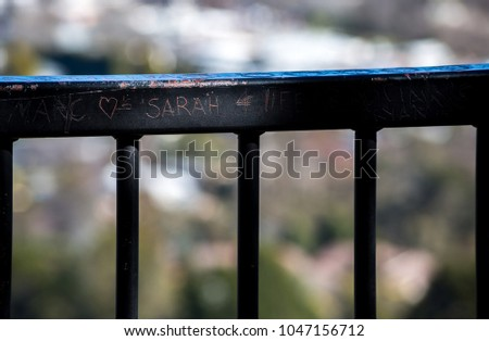 Message etched into rail #1047156712
