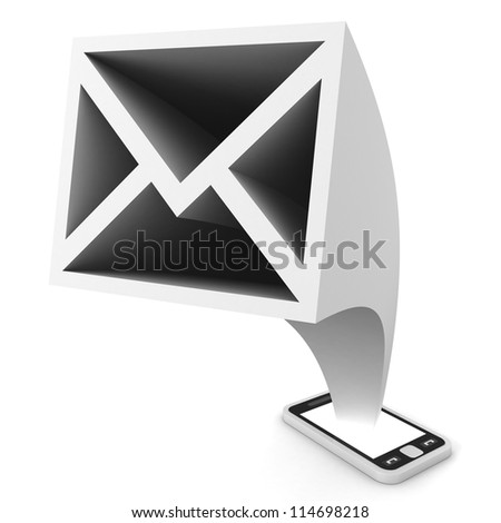message icon from touchscreen smartphone on white background