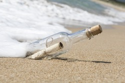 Message in a bottle, close up