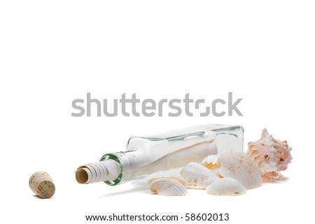 Message in a bottle concept over white background