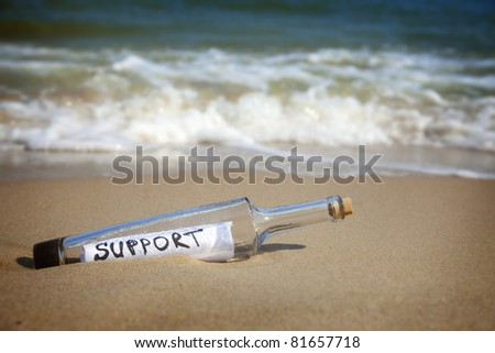 Message in a bottle / Support / deserted beach