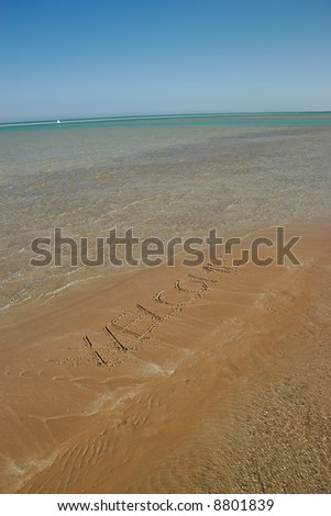 message on the sand beach