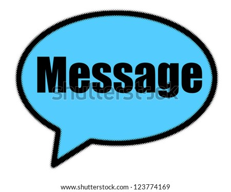 Message sign in blue speech bubble