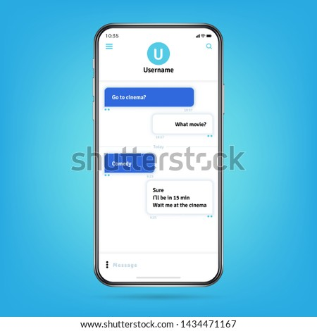 Messenger like whatsapp with bubble frames for messages on smartphone screen illustration. Phone communication, mobile message