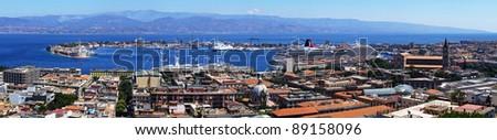 Messina harbour panorama. Sicily island.  Italy