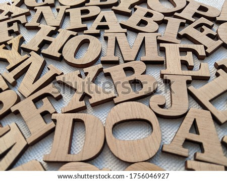 messy alphabet letters made of wood Stockfoto ©