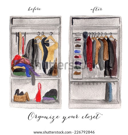 Messy and clean closet watercolor illustration