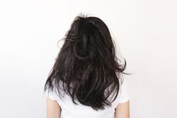 Messy damaged long black hair, on white background