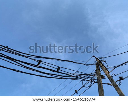Messy electrical cables and wires on electric pole with pigeons on blue sky background. Power poles and power lines. Wires stretching from a transformer to an electric pole