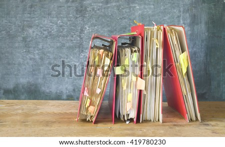 messy file folders and documents,free copy space