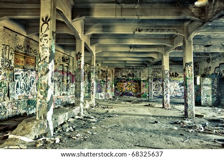 messy old warehouse