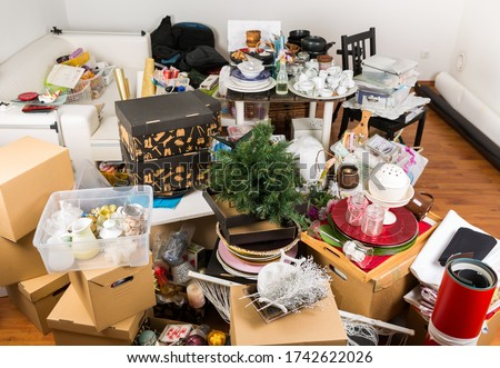 Photo of  Messy room full of clutter and junk - Compulsive hoarding. Hoarding disorder.