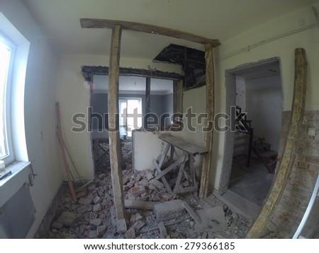 messy room in repairing house