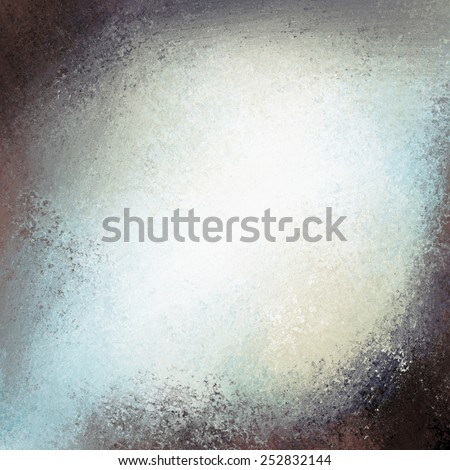 messy white and blue grunge background texture with black grunge borders and soft blue and white center color