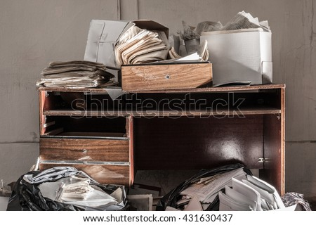 messy file cabinet. Messy Workplace With Stack Of The Paper #431630437 File Cabinet