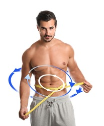 Metabolism concept. Handsome man with perfect body on white background